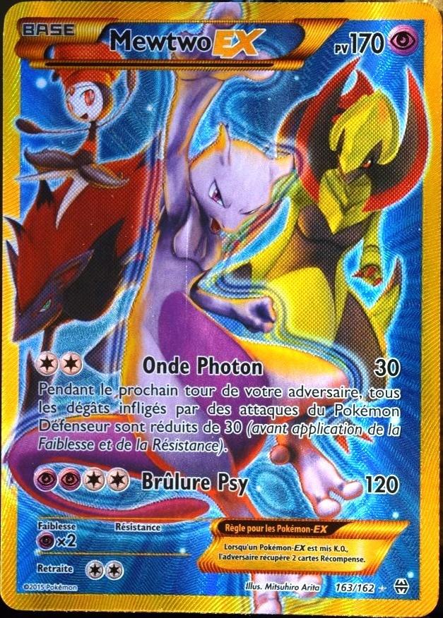 Berühmt carte Pokémon 163/162 Mewtwo EX 170 PV - SECRET RARE - FULL ART  US38