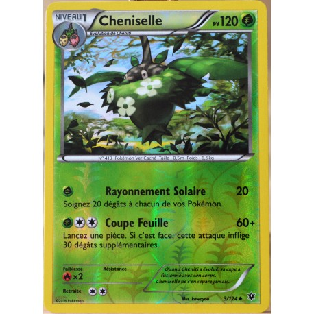 carte Pokémon 3/124 Cheniselle 120 PV - REVERSE XY - Impact des Destins NEUF FR