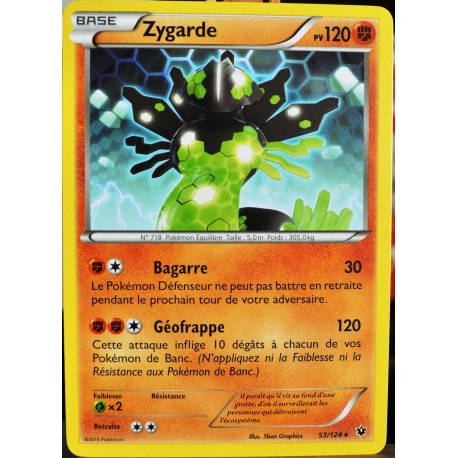 carte Pokémon 53/124 Zygarde 120 PV XY - Impact des Destins NEUF FR