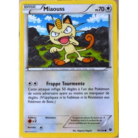 carte Pokémon 74/124 Miaouss 70 PV XY - Impact des Destins NEUF FR