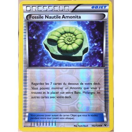 carte Pokémon 102/124 Fossile Nautile Amonita REVERSE XY - Impact des Destins NEUF FR