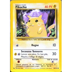 carte Pokémon 58/102 Pikachu 40 PV Set de base NEUF FR