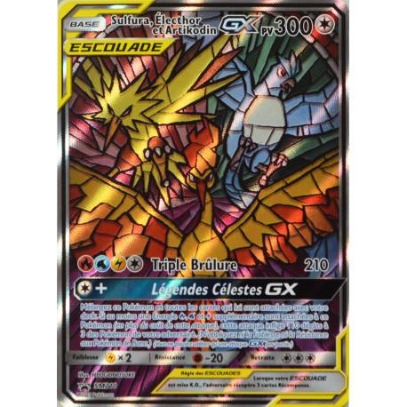 carte Pokémon SM210 Sulfura, Electhor et Artikodin GX 300 PV - FULL ART Promo NEUF FR