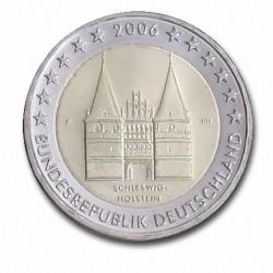 Allemagne 2 Euro commémorative 2006 - Schleswig-Holstein - Holstentor Lübeck - F - Stuttgart Allemagne 2006  7.200.000 EX.