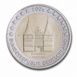 Allemagne 2 Euro commémorative 2006 - Schleswig-Holstein - Holstentor Lübeck - J - Hambourg Allemagne 2006  6.300.000 EX.
