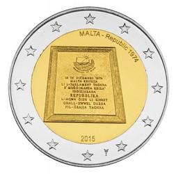 Malte 2 Euro commémorative 2015 - République de Malte 1974 - avec différent  30.000 EX.