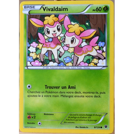 carte Pokémon 8/124 Vivaldaim 60 PV XY - Impact des Destins NEUF FR