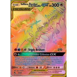 carte Pokémon 69/68 Sulfura, Electhor et Artikodin GX 300 PV - SECRETE FULL ART SL11.5 - Soleil et Lune - Destinées Occultes NEU