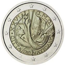 Vatican 2 Euro commémorative 2011 - 26e Journées mondiales de la jeunesse - Madrid - Blister  98.000 EX.
